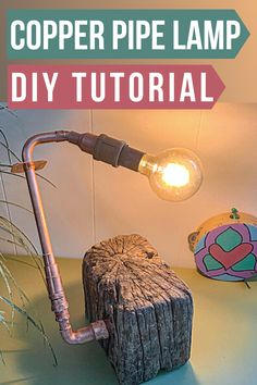 DIY copper lamp. Learn how to turn copper pipes into a lamp using these simple step by step instructions. How to make an industrial lamp DIY. Easy rustic lamp DIY home decor. Copper Pipes, Copper Lamps, Homemade Lamps, Make A Lamp, Rustic Lamps, Do It Yourself Crafts, Pipe Lamp, Diy Home Decor Projects, Eclectic Decor