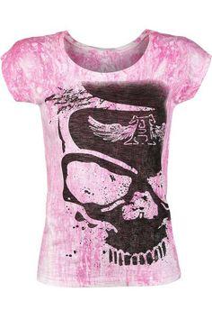 """Classica T-Shirt donna """"Splash Skull"""" del brand #AlchemyEngland in stile Vintage con stampa rosa e teschio sul davanti."""