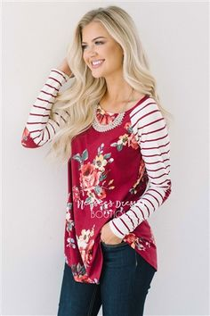 27a56a3bba3054 Red Floral Stripe Elbow Patch Top