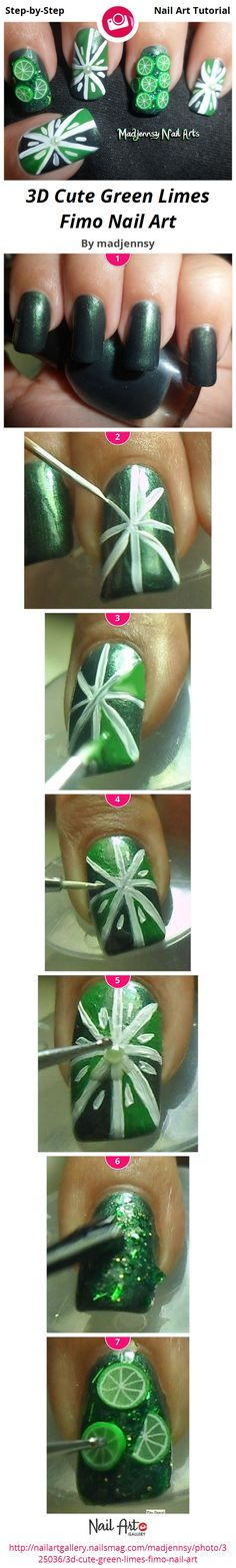 3D Cute Green Limes Fimo Nail Art by madjennsy - Nail Art Gallery Step-by-Step Tutorials nailartgallery.nailsmag.com by Nails Magazine www.nailsmag.com #nailart