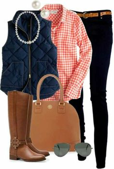 Orange gingham and navy vest, Black jeans and Tory Burch boots. Love this look for fall! I love Tory Burch! Polyvore Outfits, Adrette Outfits, Fall Fashion Outfits, Preppy Outfits, Fall Winter Outfits, Look Fashion, Autumn Winter Fashion, Street Fashion, Womens Fashion