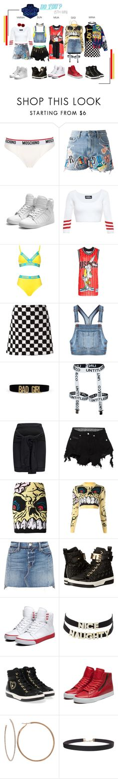 """""""ARIA (아리아) 'Do You' M!Countdown (5TH WIN)"""" by ariaofficial ❤ liked on Polyvore featuring Moschino, MSGM, Supra, Jeremy Scott, Courrèges, Boohoo, County Of Milan, Frame, Love Moschino and Charlotte Russe"""