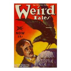 Edgar Allan Poe and Raven Pulp Magazine Cover Posters