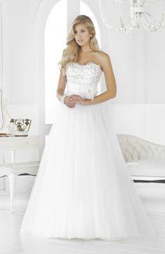 A-line Strapless Chapel Train Organza Floor-length Wedding Dresses