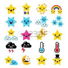rainbow star: Temps kawaii icônes étoiles, arc en ciel, la lune, flocon de neige, des tonnerres, des nuages Illustration
