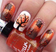 Autumn Leaf Nail Art Fall Make Up Nails Design