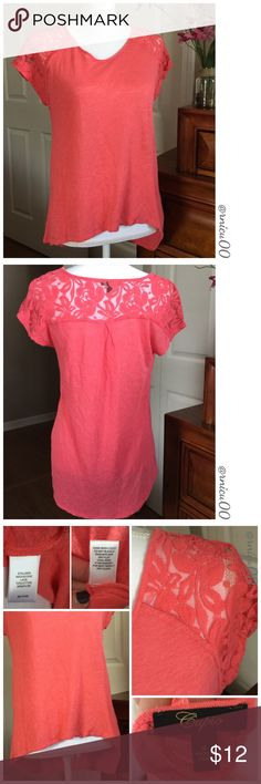 """🆕Listing! Coral High Low Tee with Lace Top! Perfect casual or dress up short sleeve V-Neck tee with a floral lacy design on the top back @ sleeves! NWOT, Never worn  •Measurements upon request  •Mannequin measurements: C-34"""", W-26.7"""", H-35.4"""" *NO TRADES* *Reasonable Offers thru option⤵️ *Sales are Final, Bundle for Discounts! Cupio Tops Tees - Short Sleeve"""
