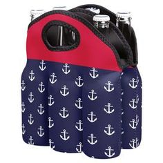 Aweigh Bottle Holder Navy & Red Anchor