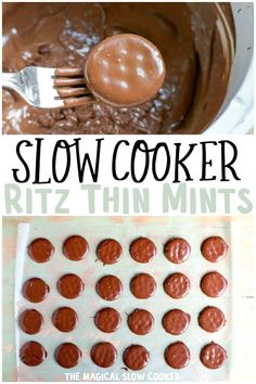 Just 4 ingredients to make thin mints at home! Make these for cookie platters any time of the year! - The Magical Slow Cooker. The Magical Slow Cooker, Best Slow Cooker, Crock Pot Slow Cooker, Slow Cooker Recipes, Crockpot Recipes, Candy Recipes, Cookie Recipes, Dessert Recipes, Yummy Treats