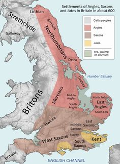 Anglos, Saxons, Jutes (caution re the south central identification of societies as jutish, and southwestern saxon/celtic border; otherwise, useful.)