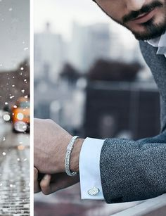 Take sleek sophistication to the next level with diamond cufflinks and Modern Chain bracelets