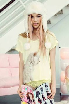 Wildfox Couture Cat Cafe Lazy Weekend Tee in Firefly