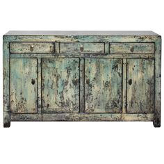Three drawer sea foam greenish/blue and cream lacquer sideboard. Use in the dining room as a server or living room or entryway with lamp and accessories on top. New interior shelf and hardware. Dongbei, China. Contact us for more info or to purchase this item today.