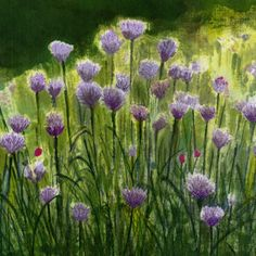 'Chives' Textile Wall Art.  Painted with thickened dyes and free machine embroidery.