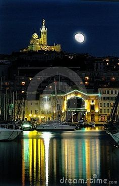 Marseilles Harbour Moon Night.  Night on Marseilles old harbour, France