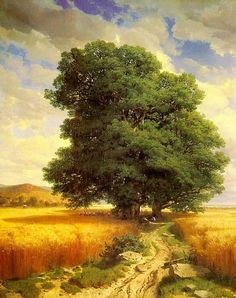 Alexandre Calame Paintings-Landscape with Oak Trees