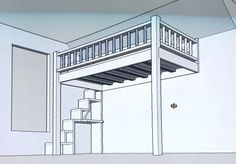 Loft bed plans with stairs and desk.