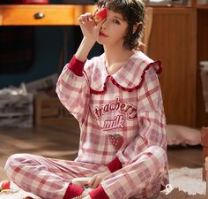 Strawberry Milk Pajamas ●Size:M For the height of the weight of L For the height of the weight of XL For the height of the weight of XXL For the height of the weight of ●Material:Cotton ●Co Korean Fashion Trends, Emo Fashion, Gothic Fashion, Fashion Outfits, Kawaii Dress, Kawaii Clothes, Pencil Skirt Black, Pencil Skirts, Cute Sleepwear