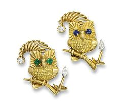 A PAIR OF AMUSING DIAMOND AMD GEM-SET BROOCHES, BY CARTIER