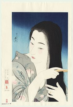 Combing the Hair by Torii Kotondo (1900 - 1976)
