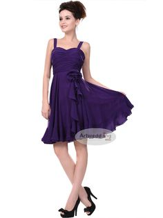 I like this for bridesmaids(different colors based on disney princesses)Ruched Bodice Short A Line Party Dress with Floral Side Drape