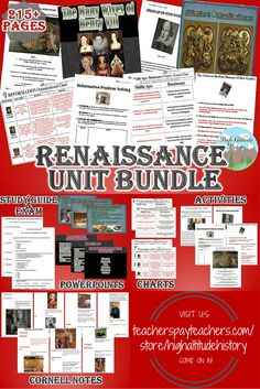 Ready to Teach Your Students About the Renaissance? Stop By and See our Renaissance Unit Bundle. Packed with the Materials You Need to Make Your Lessons Fun, Engaging and Worthwhile for Your Class!