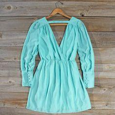 Mint Clover Dress, Sweet Women's Bohemian Clothing