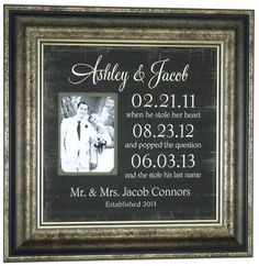 Personalized Picture Frame Special Dates Sign Custom Wedding sign Important Dates, Wedding Gift, Wedding Gift for Parents ( 16 X 16 ) on Etsy, $89.00