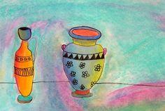 Greek Vase Chalk Pastel Drawings