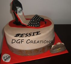Louis Vuitton & Christian Louboutin Theme cake, everything is edible on the cake.