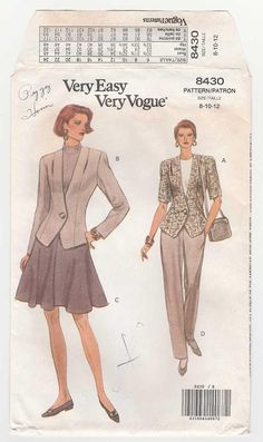 Vogue 8430 Jacket, Flared Skirt and Pants, Women's Sewing Pattern, Misses Size 8-10-12 Uncut