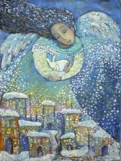 *Disclaimer/ all images are copyrighted to their respective owners. Art And Illustration, Fantasy Kunst, Fantasy Art, Angel Images, Josephine Wall, Christmas Paintings, Art Themes, Winter Art, Naive Art
