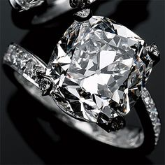 Brides: Iconic Shapes ~ Van Cleef & Arpels  Byzance ring with a 7.32 ct. cushion-cut center stone & pave' band set in platinum