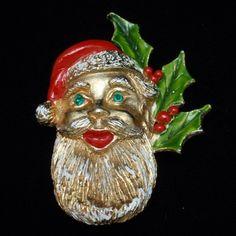 Santa Claus Pin Christmas Vintage Enamel Xmas Brooch | eBay