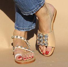 Mystique Jeweled Sandals & Flats for Women Flat Sandals, Leather Sandals, Flats, Mystique Sandals, Next Shoes, Women's Shoes, Bridal Sandals, Beautiful Sandals, Jeweled Sandals