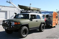 Custom 2010 Toyota FJ Cruiser hauling everything you need for camping....