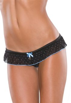 df3511f8020 Coquette 121 Polka dot mesh crotchless panty with waist ruffle detail.