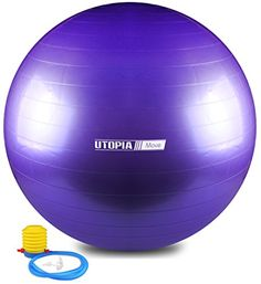Anti Burst and Slip Resistant Yoga Ball Exercise Ball Fitness Ball Total Body Balance Ball By Utopia Home Purple 75 CM ** Check out the image by visiting the link. Resistance Loops, Exercise Balls, Health Fitness, Fitness Gear, Total Body, Physical Therapy, Workout Gear, Physics, Endurance Training