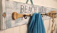 Beach House Oar Paddle Hook Coat Rack Sign Beach House Decor By Castawayshall…