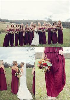 Cranberry colored bridesmaid inspiration for fall wedding. #bridesmaids #dresses #weddingchicks Dress Design: Forever 21 ---> http://www.weddingchicks.com/2014/04/29/family-farmhouse-wedding-retreat/