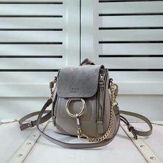 2017 S/S Chloe Mini Faye Backpack in motty grey smooth & suede calfskin