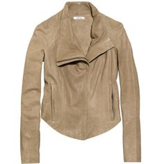 Helmut Lang Stretch-jersey paneled leather jacket ($1,180) ❤ liked on Polyvore
