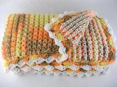 Reversible Handmade Crochet Knit Throw or Baby Blanket and Headband #Handmade #Ribbed