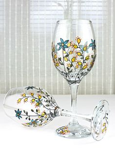 Wine Glasses Wedding glasses Anniversary Glasses by witchcorner