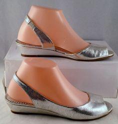 Gianni Bini  7 Medium Womens Silver Leather Low Wedge Heels  Used #GiannniBini #lowWedge #Casual