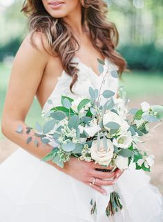 Eucalyptus and rose bouquet. Easy, simple, and inexpensive way to get the loose, organic wedding bouquet look that is trending right now. Yard Wedding, Wedding Bells, Wedding Flowers, Dream Wedding, Wedding Dresses, Wedding Dj, Bouquet Wedding, Rustic Wedding Bouquets, Destination Wedding