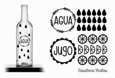 Etiquetas agua y jugo
