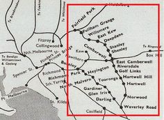 A basic map showing the stops on the Outer Circle Line, Melbourne. Victorian History, Brunswick Street, Run Today, Train Service, Melbourne Victoria, Light Rail, St Kilda, Hill Station, Saint George