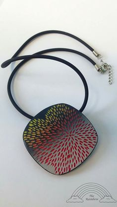 Beautiful large pendant necklace, handmade jewelry, polymer clay necklace, geometric pendant