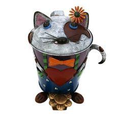 COLOURFUL METAL CAT PEDAL BIN BY GALL & ZICK / TRASH BIN / WASTE BIN / DUSTBIN  #GallZick